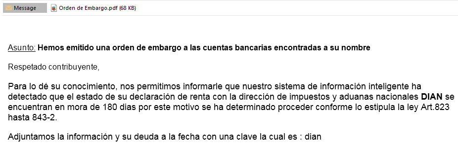 A delivery email impersonating Colombia's national directorate of taxes and customs