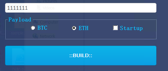 Figure 16. The HCrypt builder where the user (attacker) can only choose either Bitcoin or Ethereum
