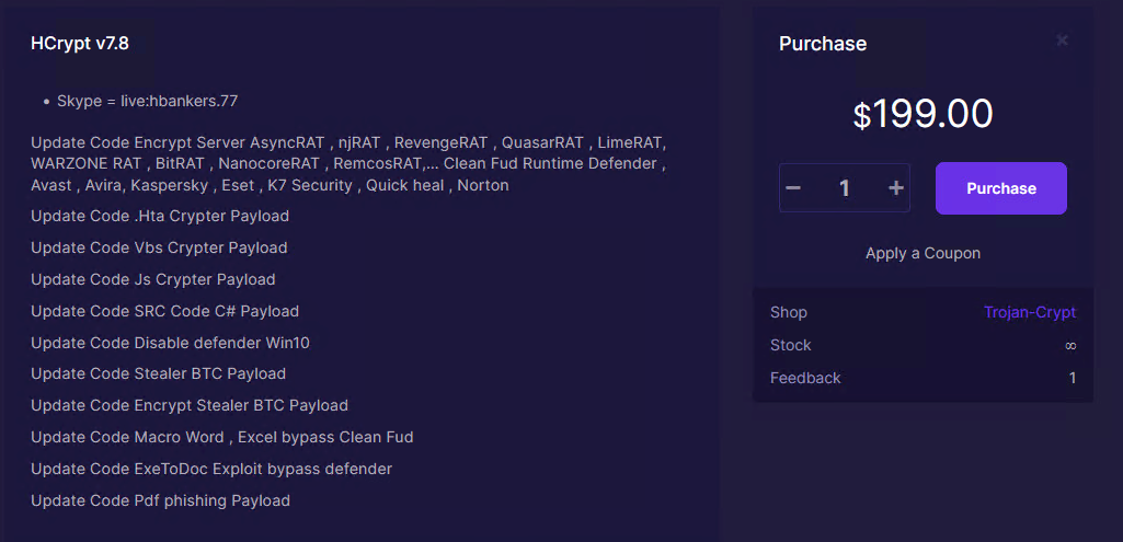 Figure 2. HCrypt v7.8 updates that also list RAT variants and the purchase price