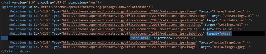 Figure 1. Code with XML relationships