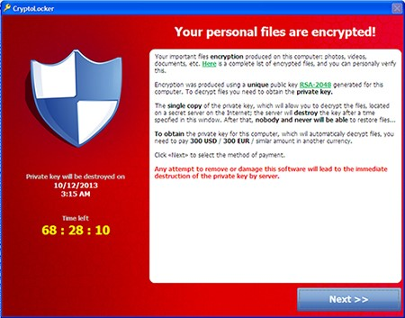 Sample of a ransomware message